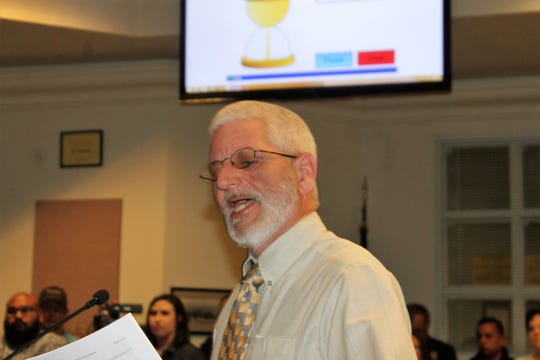 Alamogordo resident Rich Merrick speaks at the regular Alamogordo City Commission Meeting Tuesday, Jan. 30.