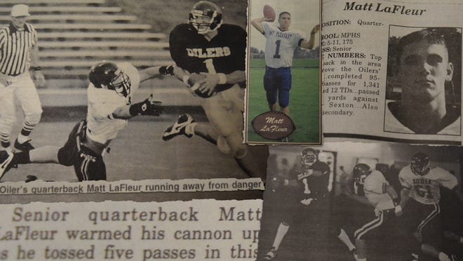 A collage of photos and press clippings from Matt LaFleur's playing days.
