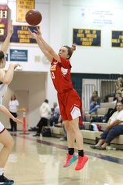 Alexis Legan follows through on a 3-point attempt for Palm Desert on Tuesday.