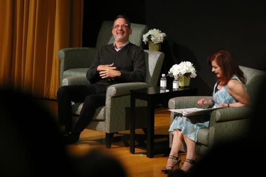 Tom Hanks in conversation with Maureen Dowd during the Rancho Mirage Writers Festival opening event at the Annenberg Center in Rancho Mirage.