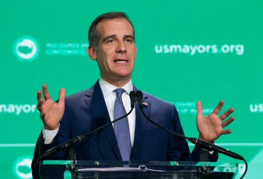 Los Angeles Mayor Eric Garcetti speaks during the U.S. Conference of Mayors meeting in Washington, Thursday, Jan. 24, 2019. (AP Photo/Jose Luis Magana)