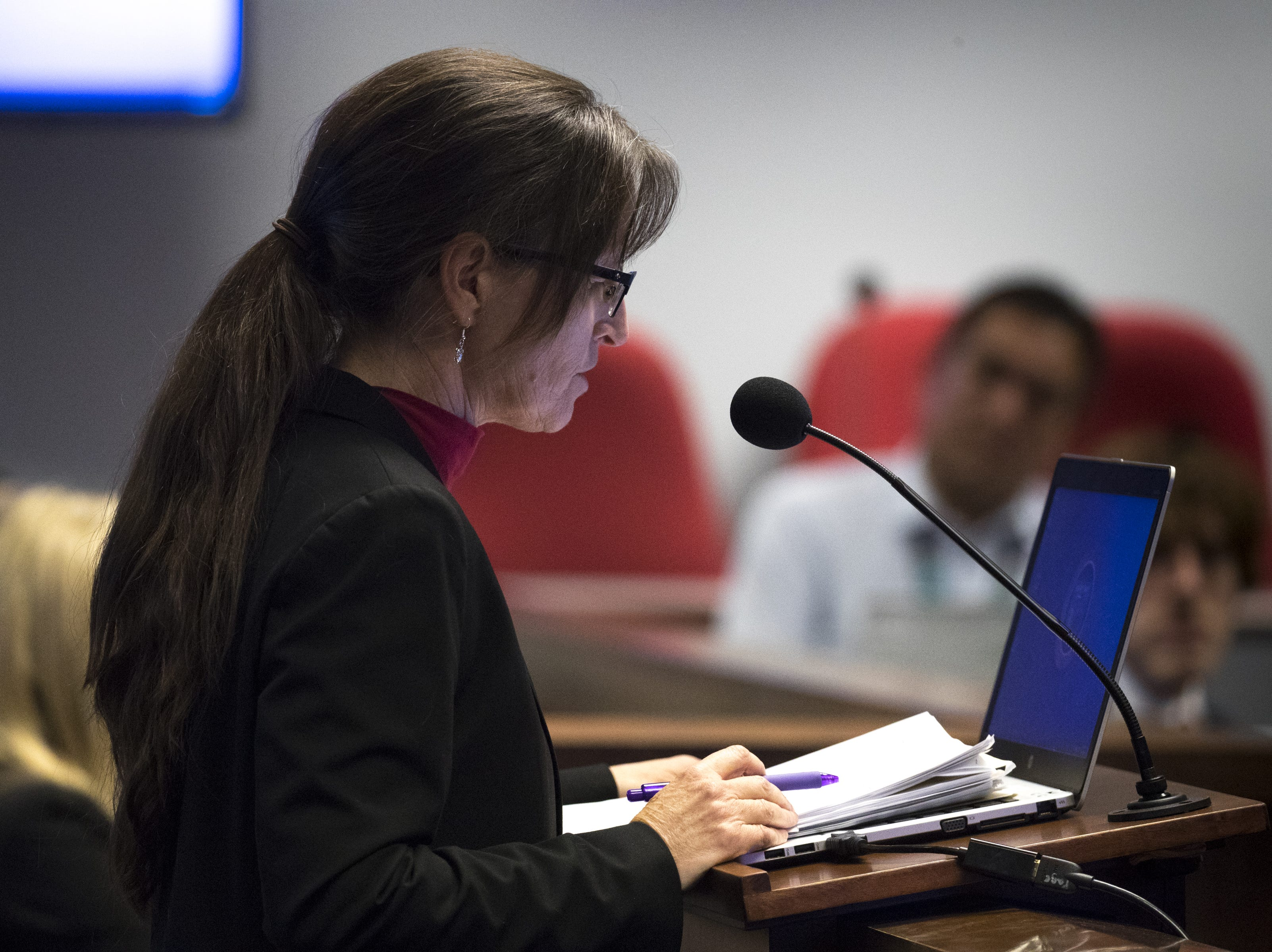 Sandy Bahr of the Sierra Club speaks during a hearing on HB 2540, Jan. 29, 2019, at the Arizona House of Representatives' Committee on Natural Resources, Energy and Water at the Arizona Capitol.