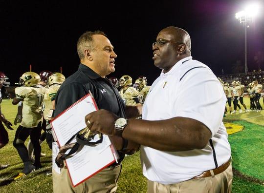 Desert Mountain's David Sedmak (left) has stepped down as football coach.