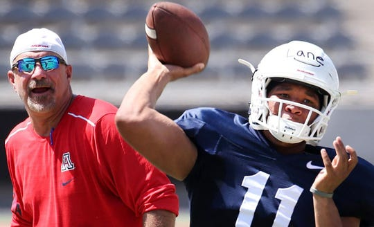 Quarterback K'Hari Lane, right, has transferred from Arizona. He never played in a game for the Wildcats.