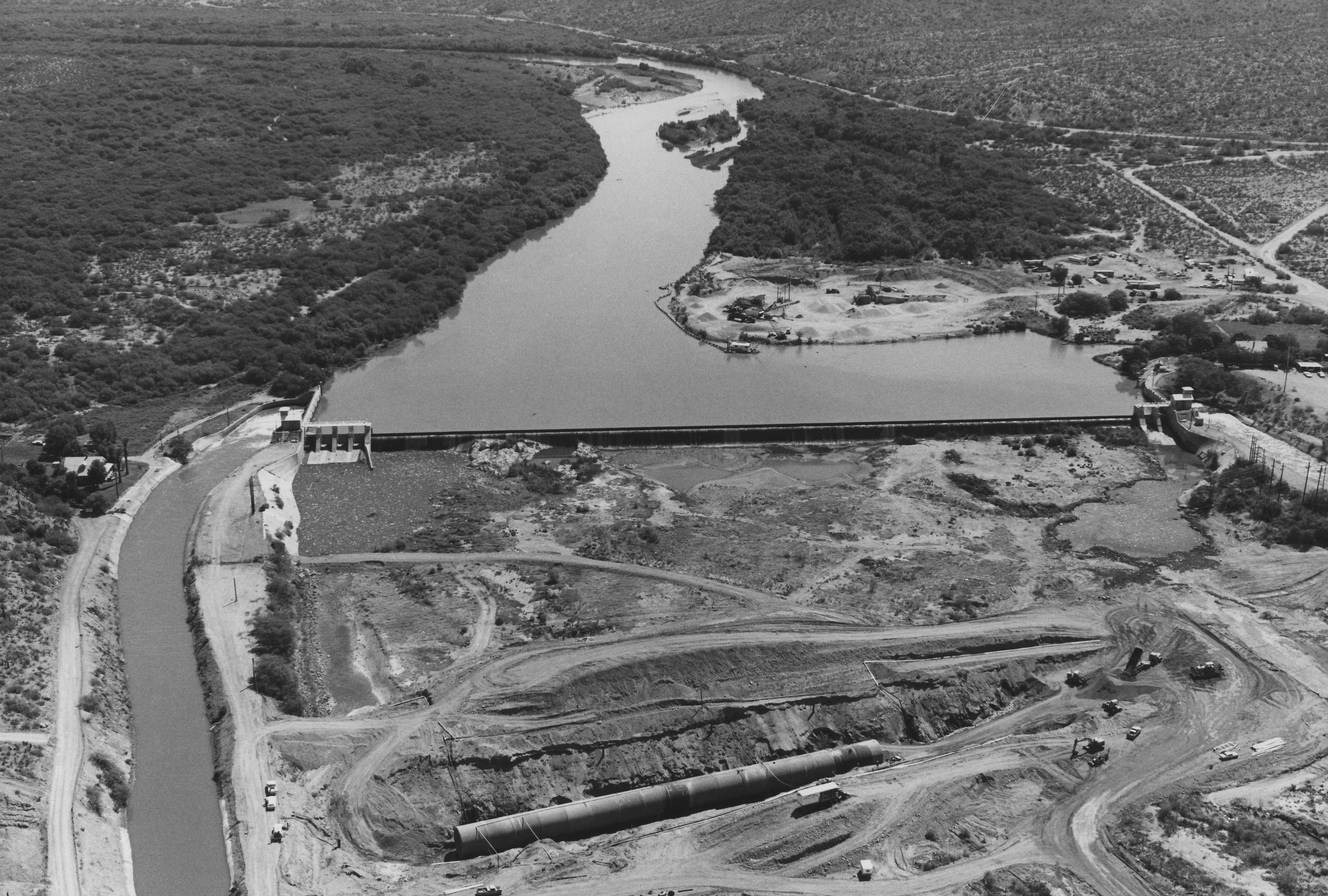 This photo from the late 70s shows Granite Reef Aqueduct and Central Arizona Project canals.