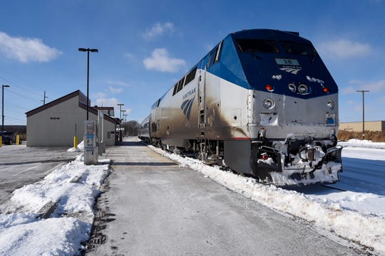 An Amtrak train sits idle infront of the Port Huron station after routes were cancelled to and from Chicago because of the polar vortex.