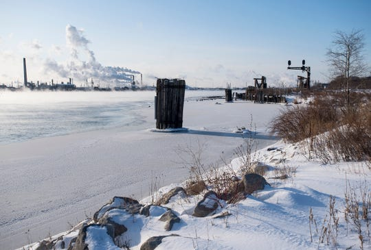 Steam rises from the St. Clair River Wednesday, Jan. 30, 2019 in Port Huron. The National Weather Service reported a steady temperature of minus 4 degrees throughout the day on Wednesday. The service predicted wind would reach speeds of 14 to 24 miles per hour, with a wind chill factor as low as minus 28 degrees.
