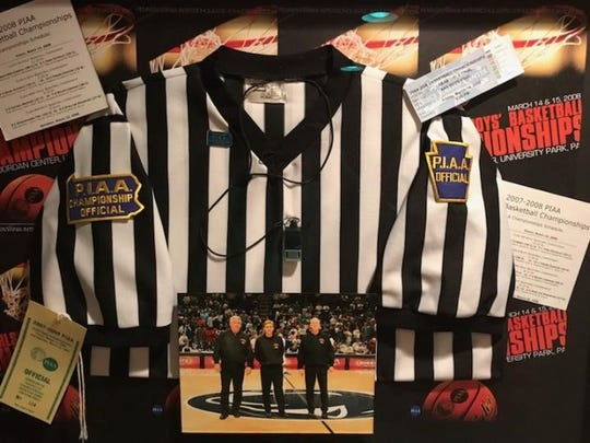 Pictured are some memorabilia items from from the state championship game that Dave Concino worked in 2008.