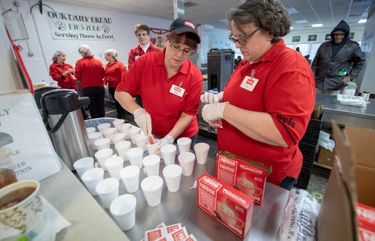 Liz Hibner, left, and Denise Yingling, who work at the Dover Weis, fill cups with hot chocolate preparing for breakfast at Our Daily Bread in York. Employees from four York-area Weis Markets served breakfast using food supplied by the grocery store on Wednesday. The associates will be given Kindness Coins as part of Celebrating York's Unity through 10,000 Acts of Kindness.