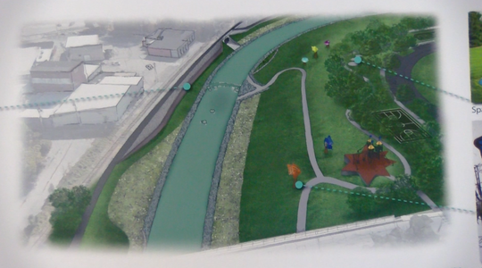 """A sketch of what the """"South Bend"""" portion of the Codorus Creek could look like after its massive makeover. The public got to see the revitalization for the first time at an open house on January 29, 2019."""