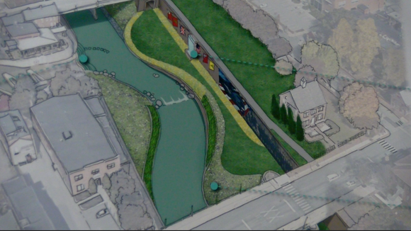 A rendering of the Codorus Creek in York after proposed stream work. The Codorus Creek Beautification Initiative would cost $75 million when all phases are completed.