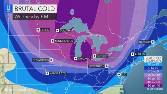 Brutal cold temperatures will hit Pennsylvania Wednesday night due to a polar vortex.