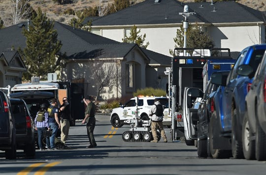A robot is brought out at the scene of a standoff in Sparks on Tuesday Jan. 29, 3019.