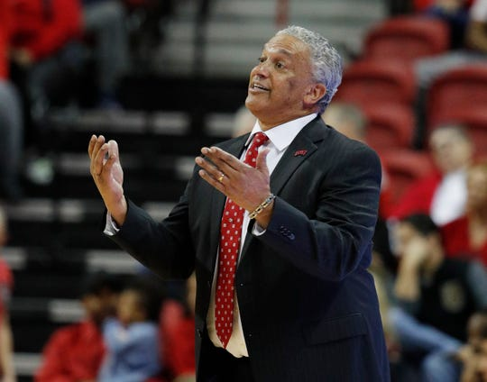 UNLV head coach Marvin Menzies coaches against Nevada during the second half of Tuesday's game in Las Vegas.
