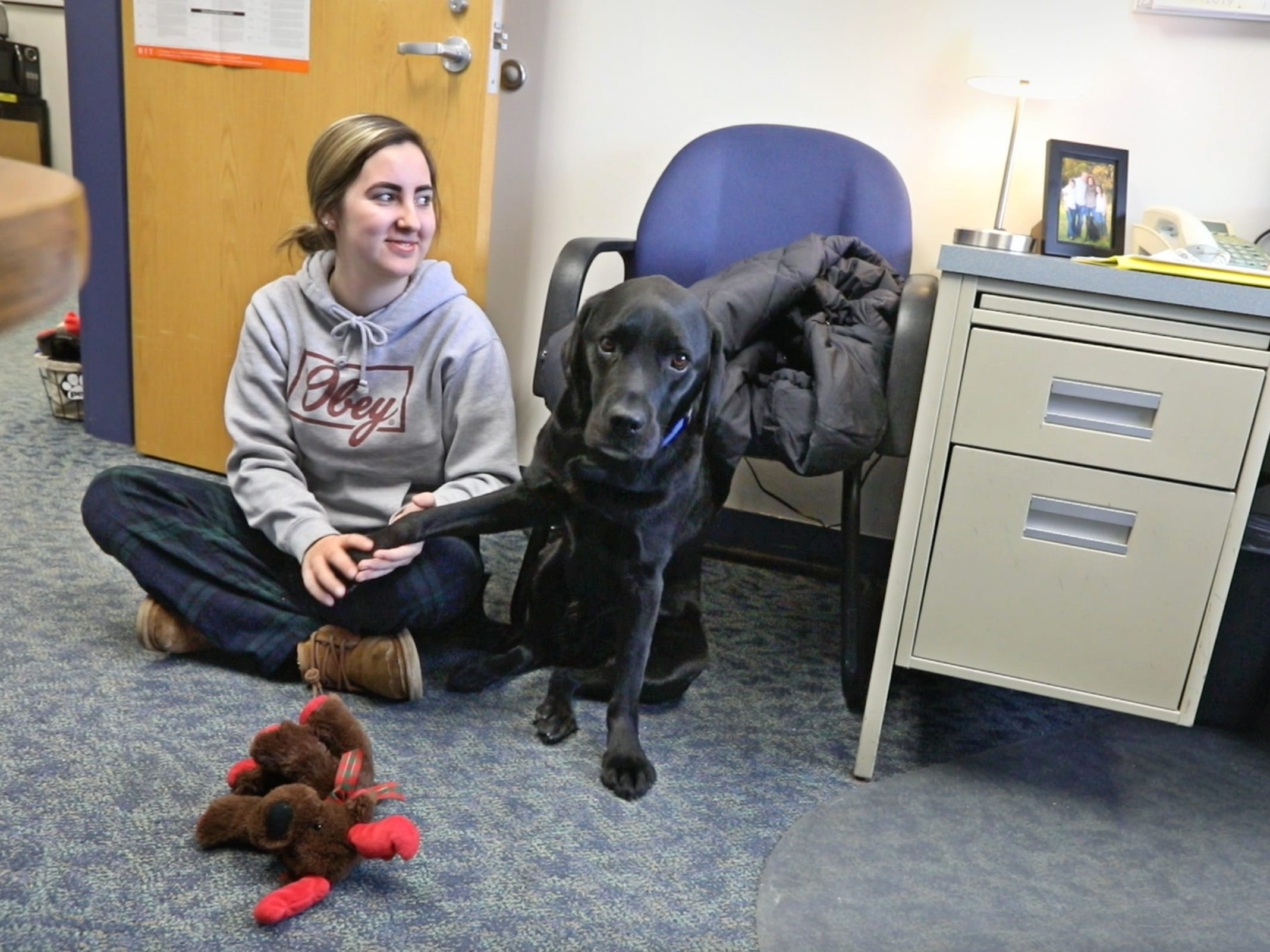 Breanna Tamburello, a 17-year-old senior, visits with Ruby, a 4-year-old black Labrador retriever who is the new therapy dog at Spencerport High School.