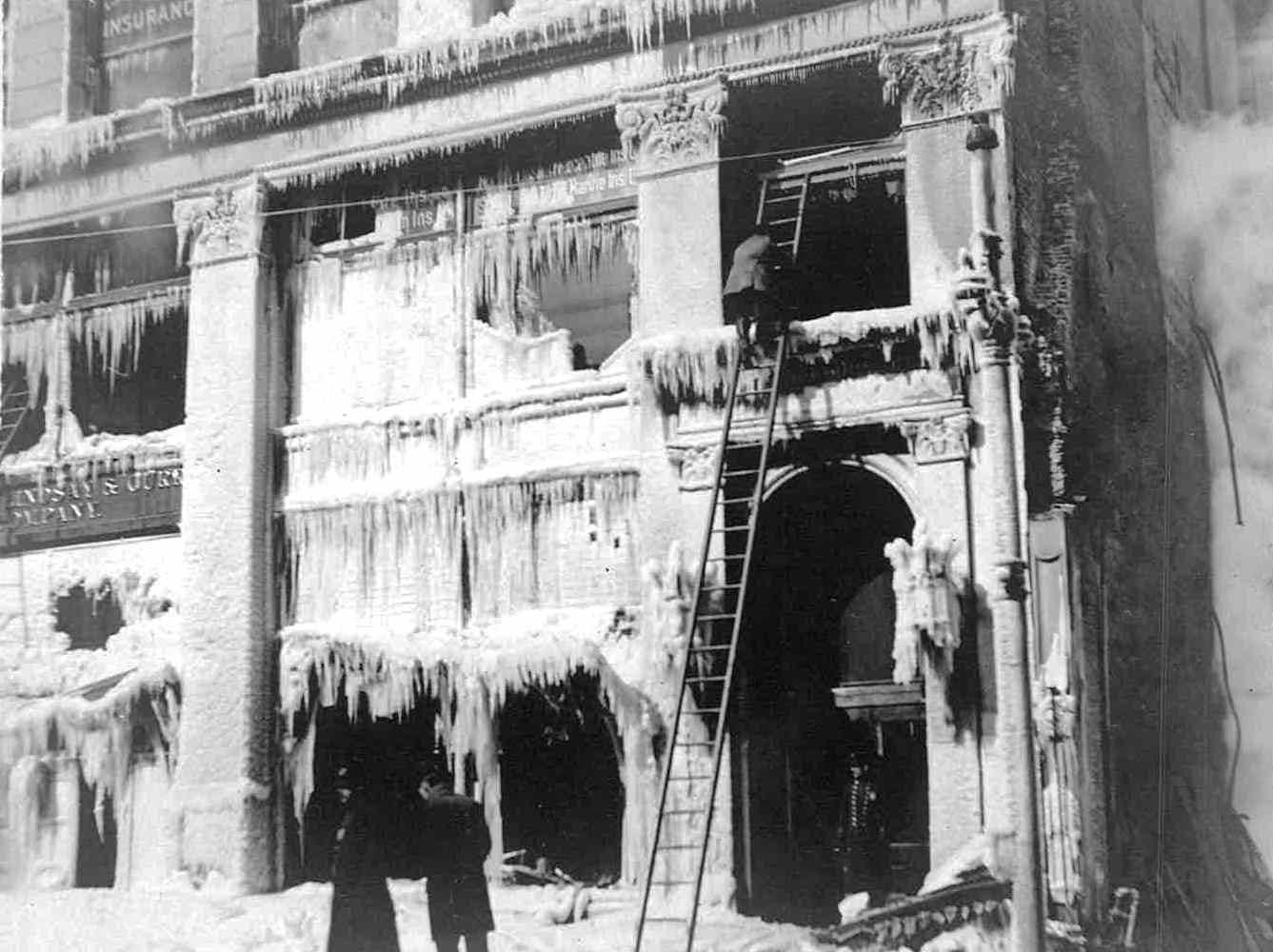 Ice hangs from Sibley's following a fire that burned for nearly 40 hours in 1904.