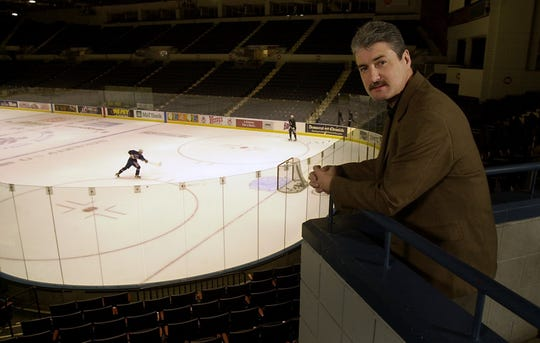 Jeff Calkins in this 2002 photo as GM of Blue Cross Arena. The veteran events planner is now overseeing operations at the renovated Roc Dome Arena in Henrietta.