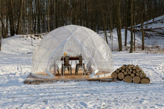 Kettle Ridge Farm in Victor will offer a brunch in three igloos set amid maple trees.