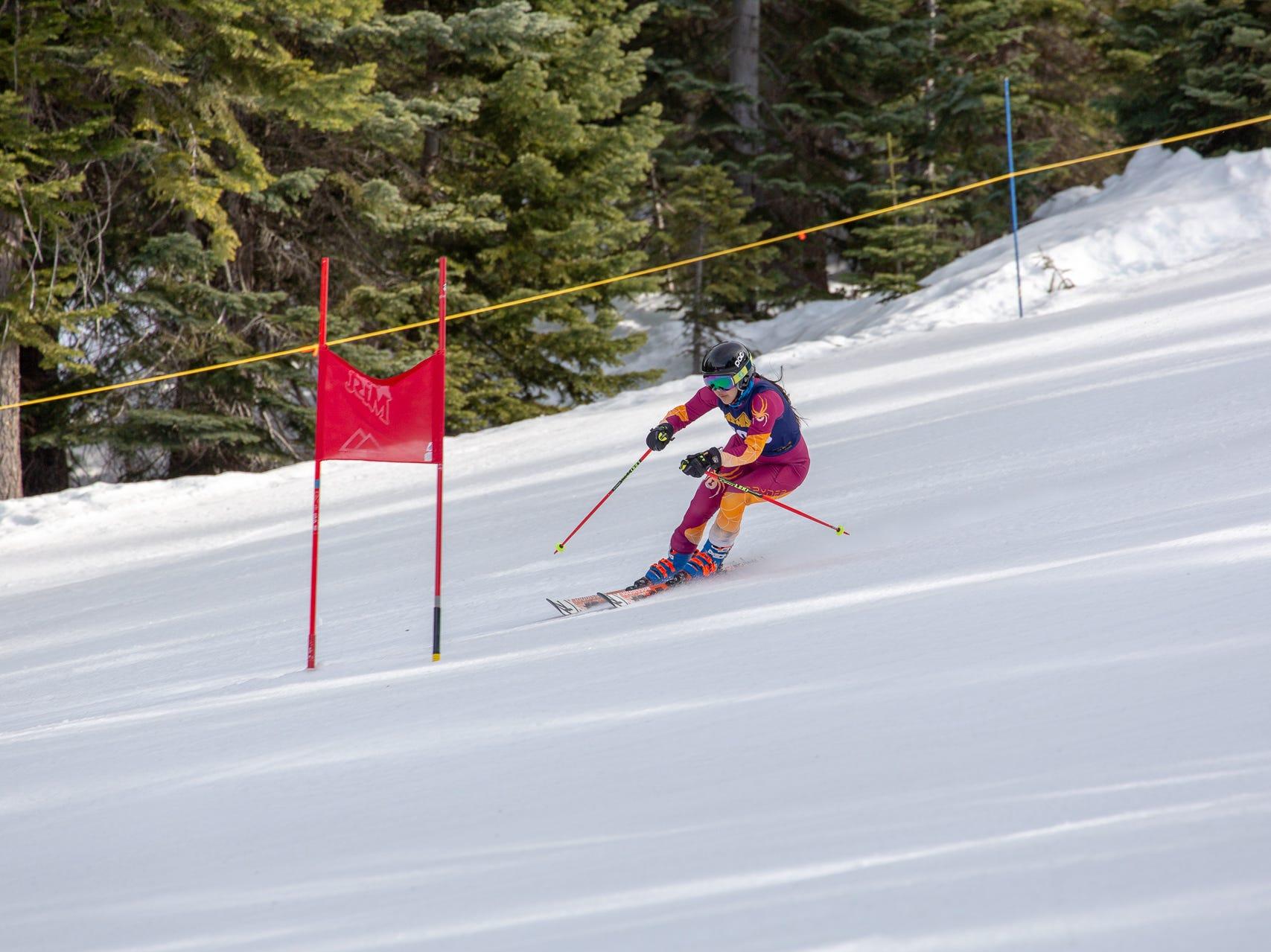 Zoe Malee of Mt. Shasta races in the third high school ski meet of 2019 on Monday, Jan. 28 at Mt. Shasta Ski Park.