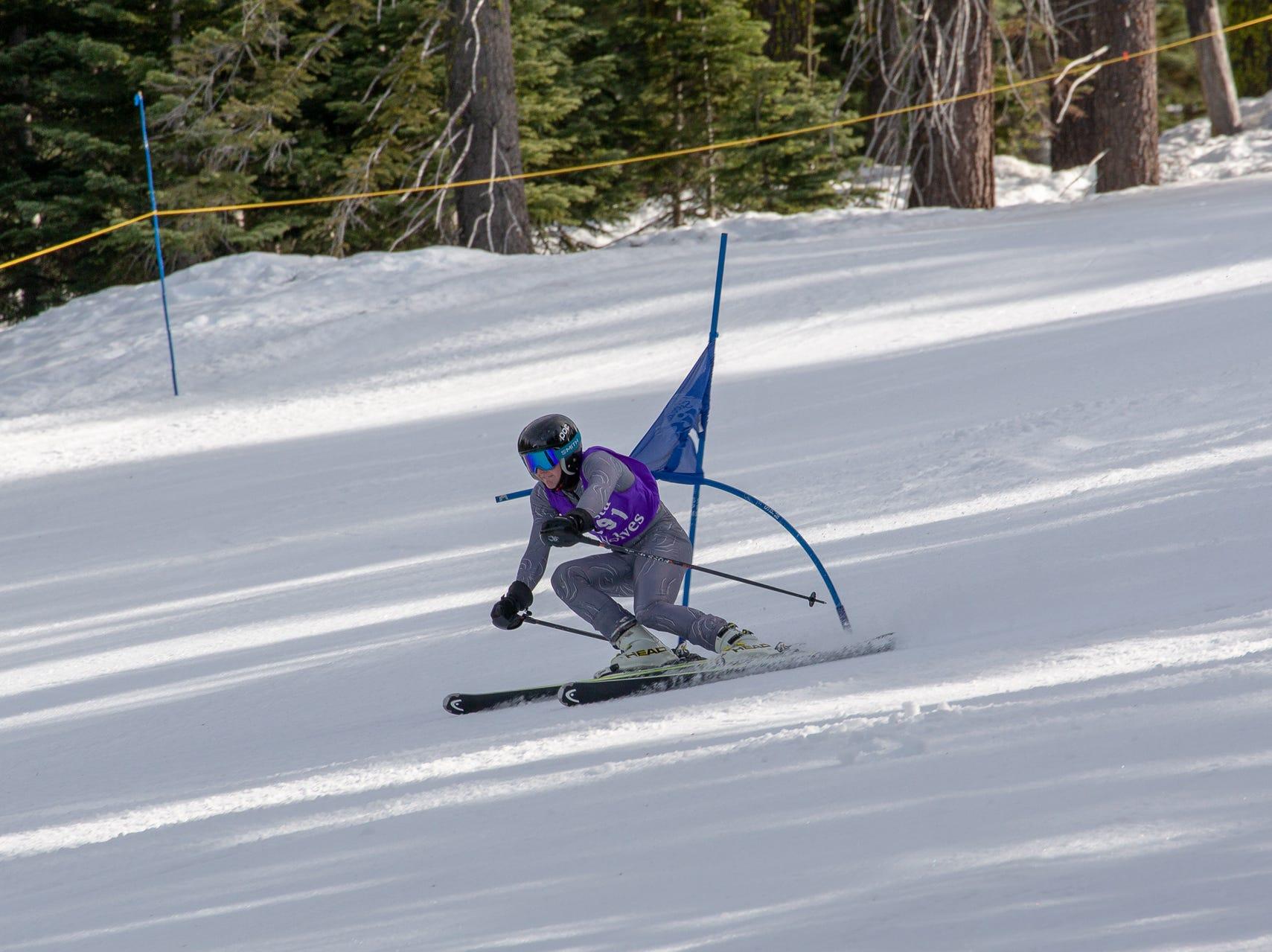 Blake Blomquist of Shasta races in the third high school ski meet of 2019 on Monday, Jan. 28 at Mt. Shasta Ski Park.