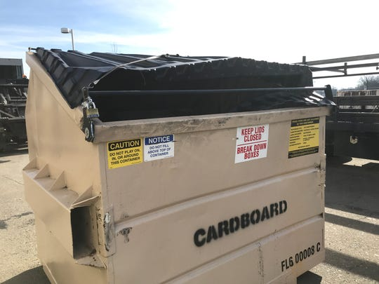 This cardboard recycle bin was brought to Redding's solid waste station for repairs this week. City officials said people will use a crowbar or other means to circumvent the lock and get to the materials inside.