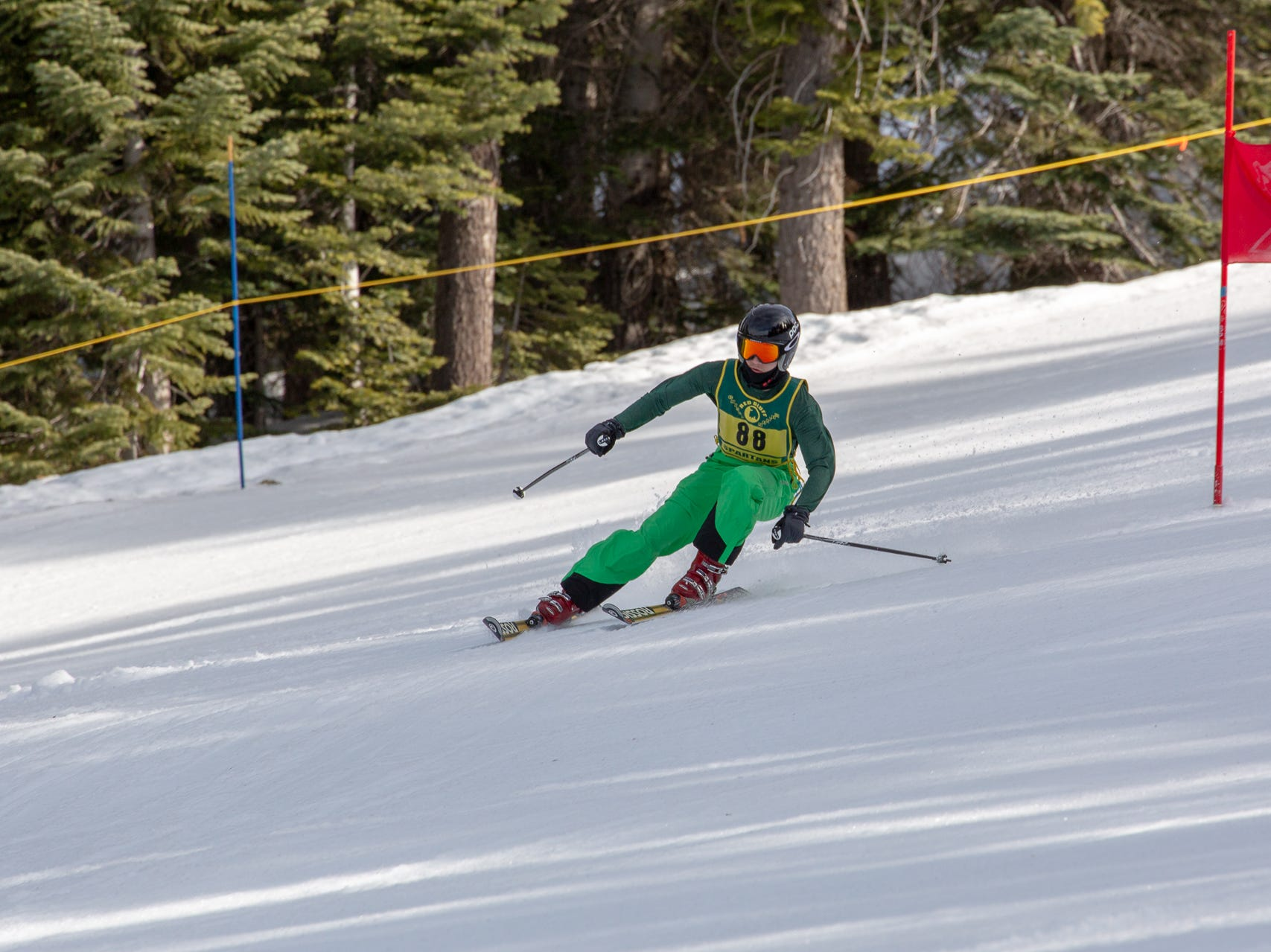 Logan Carver of Red Bluff races in the third high school ski meet of 2019 on Monday, Jan. 28 at Mt. Shasta Ski Park.