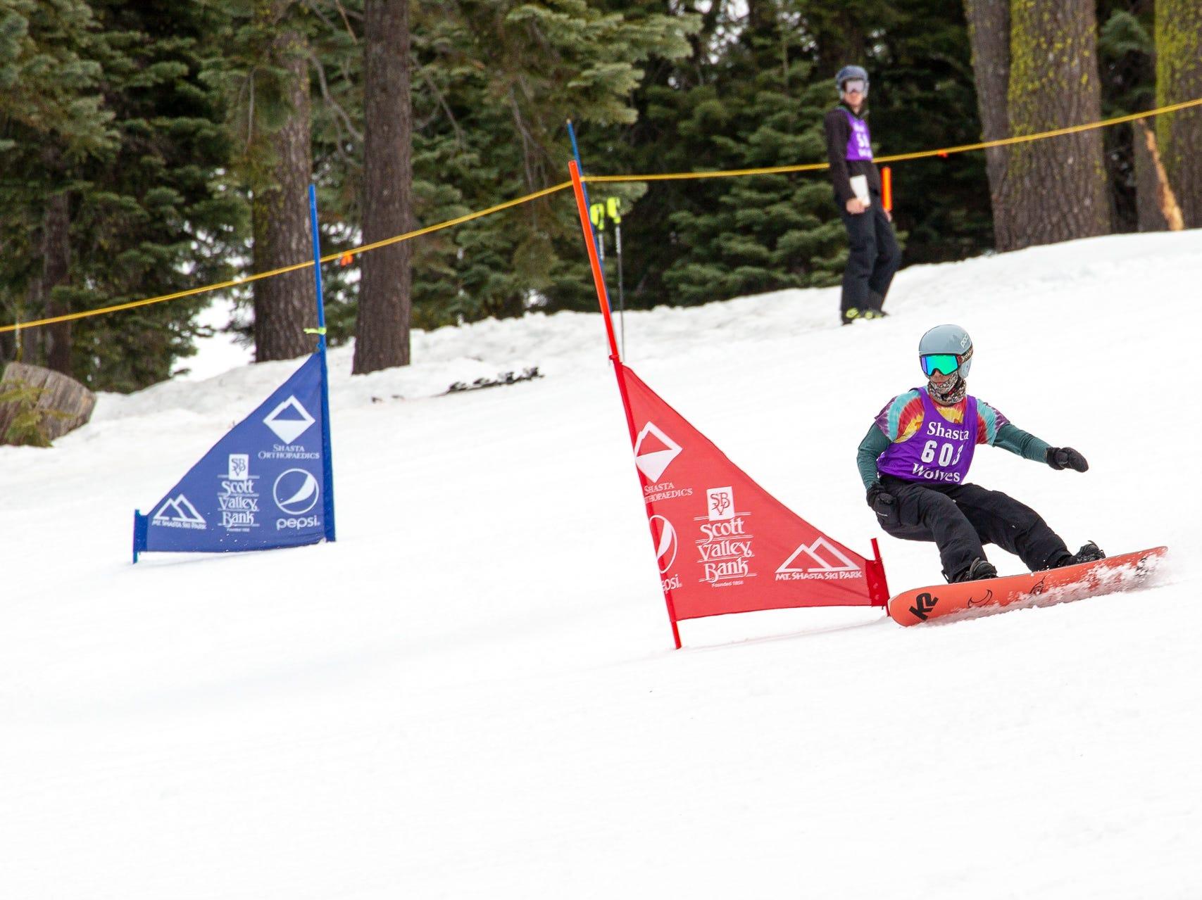 Gabe Rubanowitz of Shasta races in the third high school snowboard meet of 2019 on Monday, Jan. 28 at Mt. Shasta Ski Park.