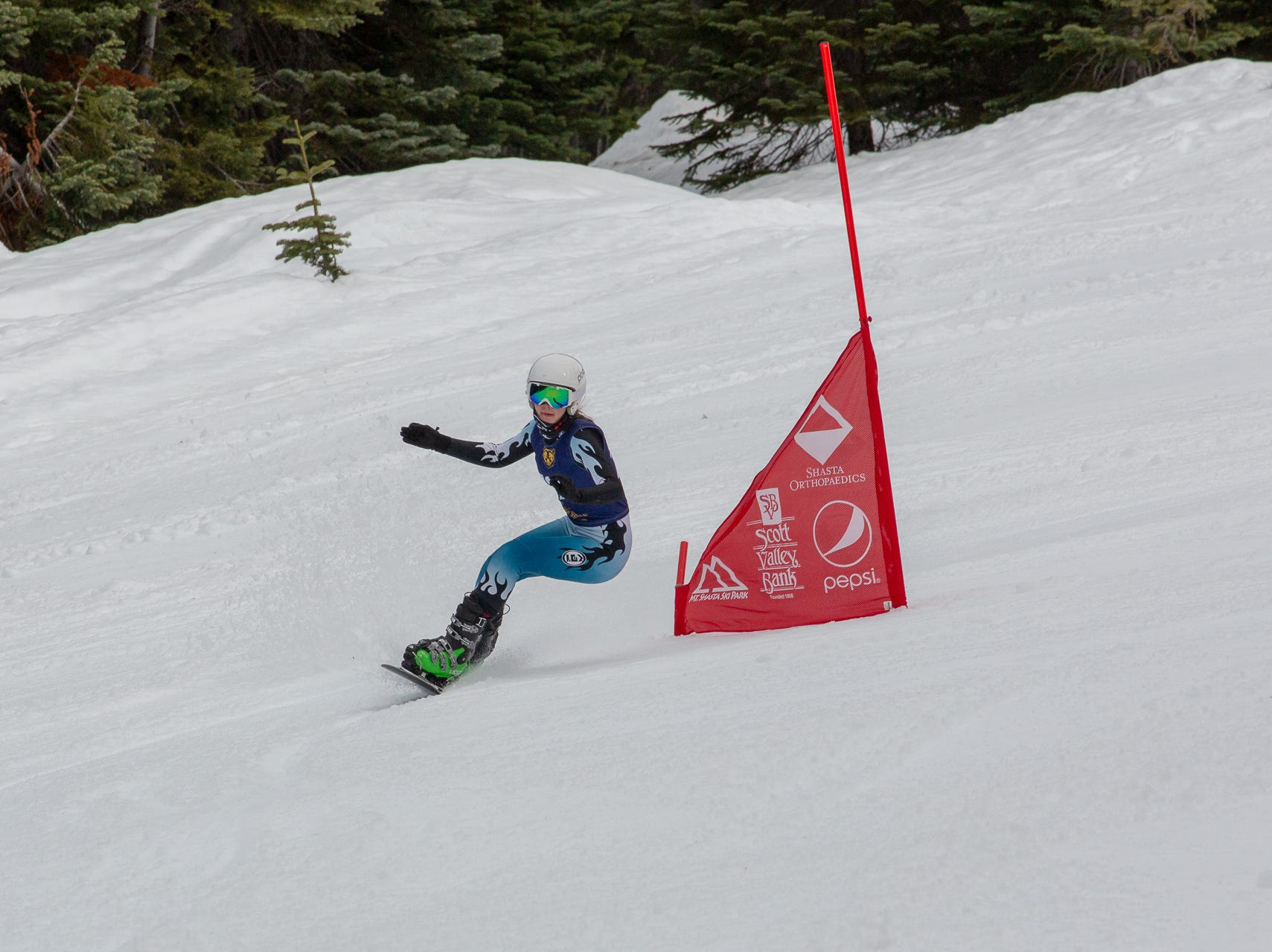 Tate Harkness of Mt. Shasta races in the third high school snowboard meet of 2019 on Monday, Jan. 28 at Mt. Shasta Ski Park.