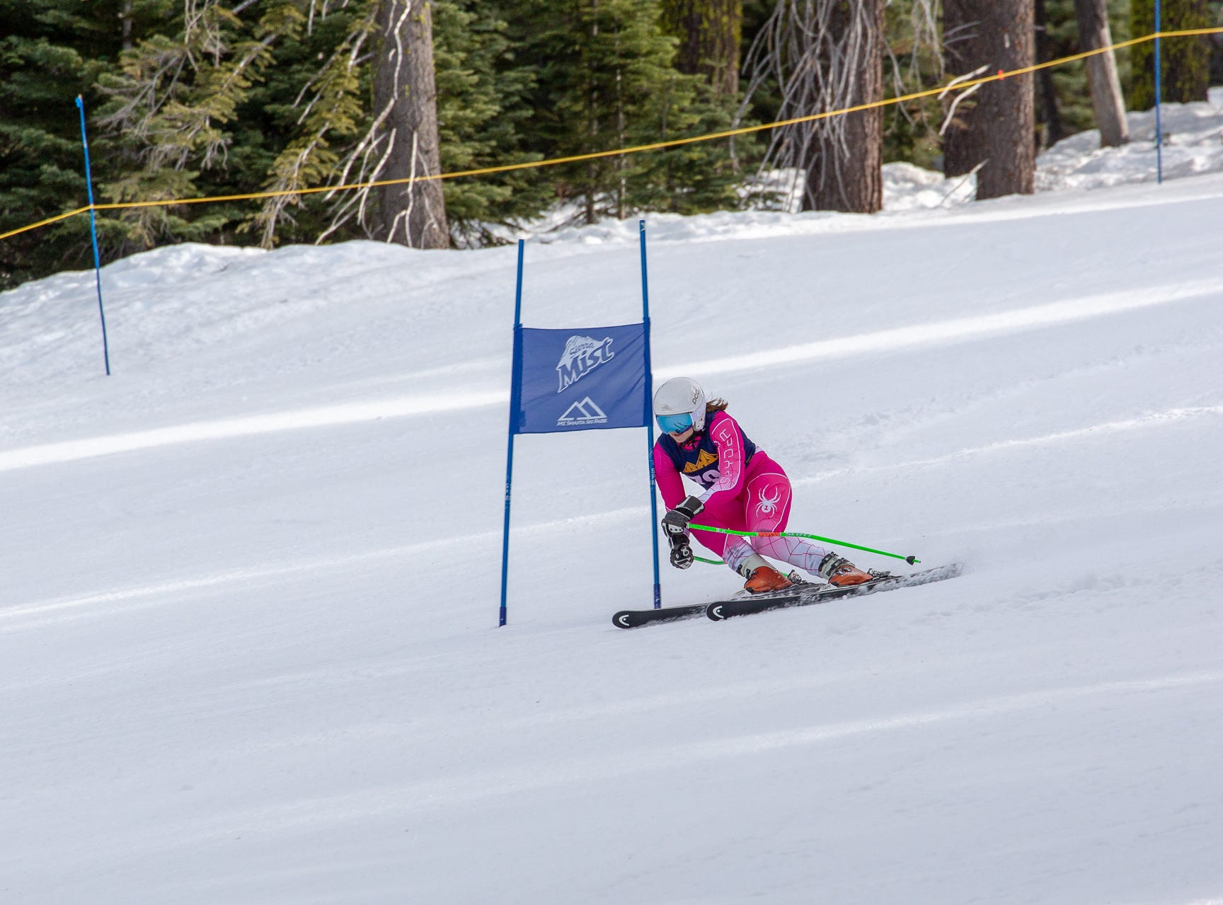 Carter Chase of Mt. Shasta races in the third high school ski meet of 2019 on Monday, Jan. 28 at Mt. Shasta Ski Park.