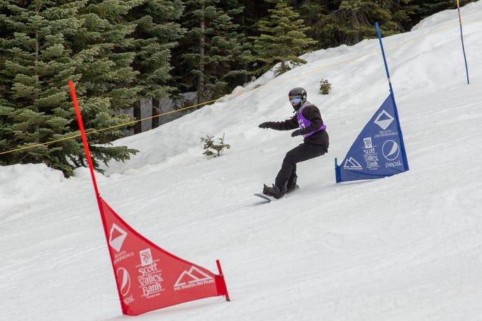 Joe Vericker of Shasta High races in the third high school snowboard meet of 2019 on Monday, Jan. 28 at Mt. Shasta Ski Park.