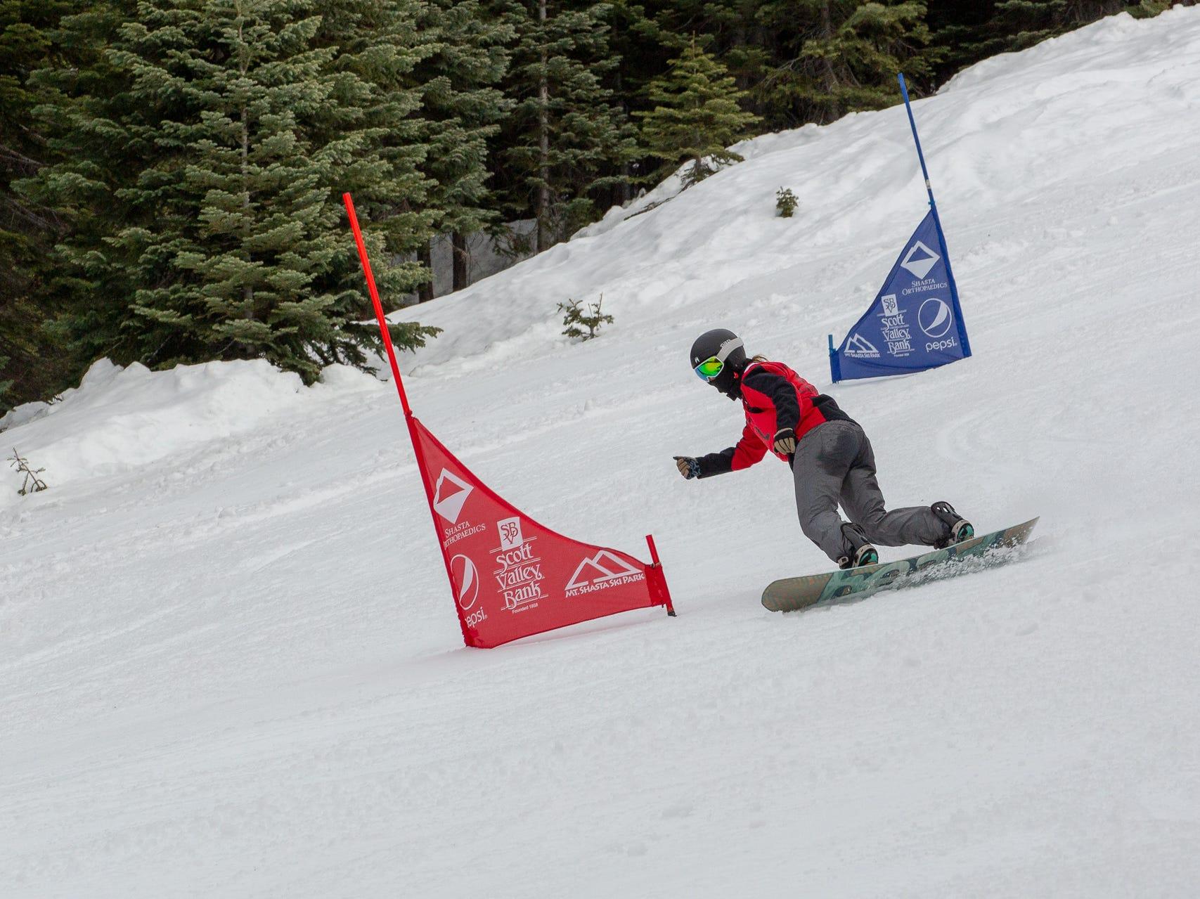 Mattie McKee of Foothill races in the third high school snowboard meet of 2019 on Monday, Jan. 28 at Mt. Shasta Ski Park.