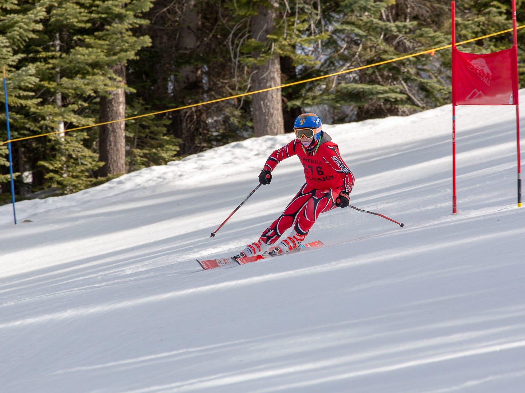 Matthew Ferrari of Foothill races in the third high school ski meet of 2019 on Monday, Jan. 28 at Mt. Shasta Ski Park.