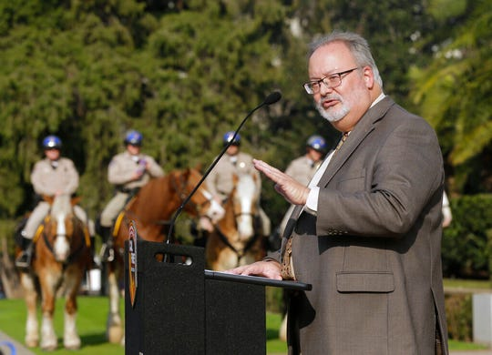 Board of Forestry and Fire Protection Chairman Keith Gilless discusses a plan to speed up logging and prescribed burns designed to protect communities from wildfires, at a news conference Tuesday, Jan. 29, 2019, in Sacramento, Calif. The effort would create a single environmental review process to cover vegetation reduction projects, field breaks and restoration projects.