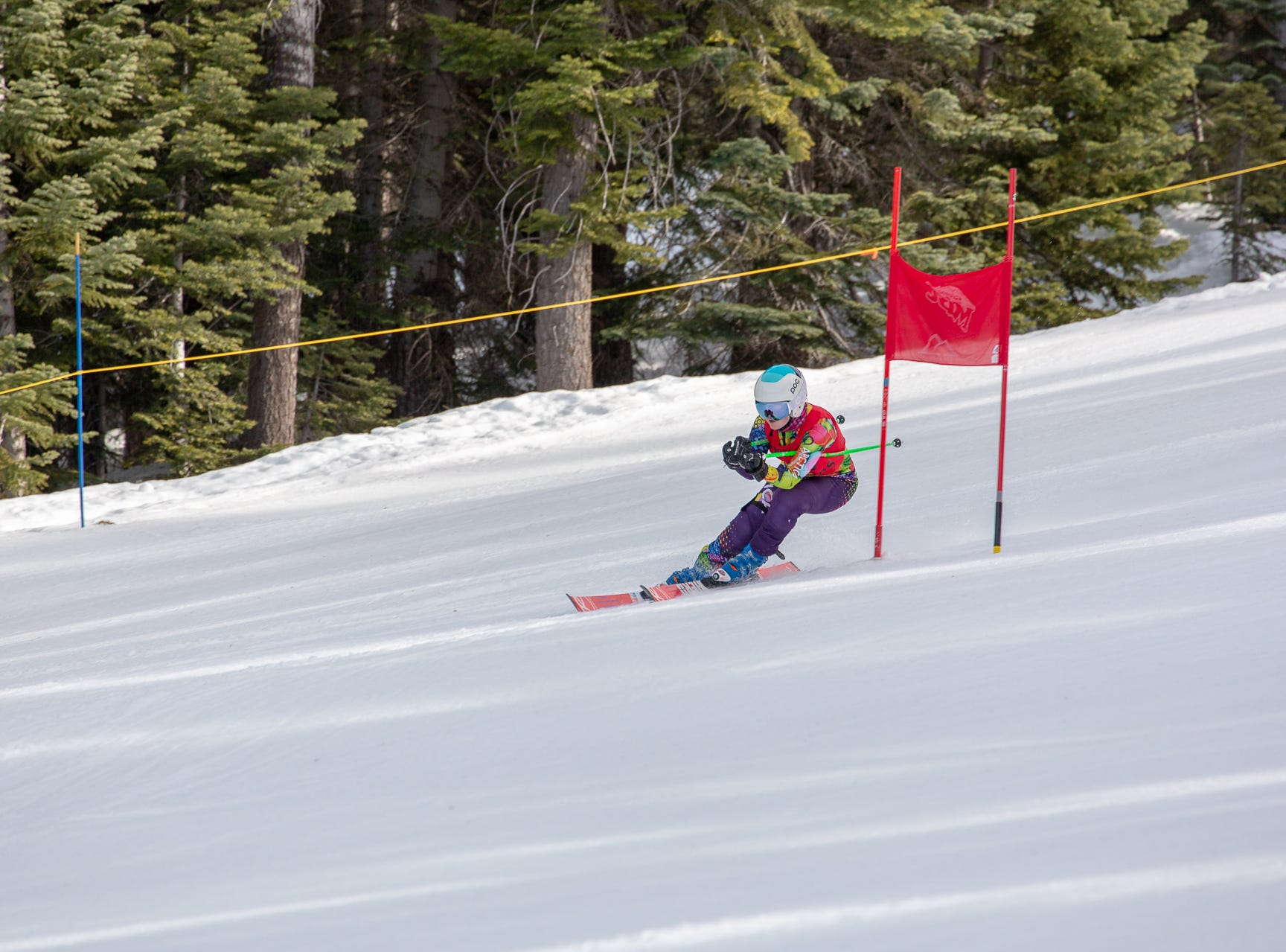 Sydnie Williams of Foothill races in the third high school ski meet of 2019 on Monday, Jan. 28 at Mt. Shasta Ski Park.
