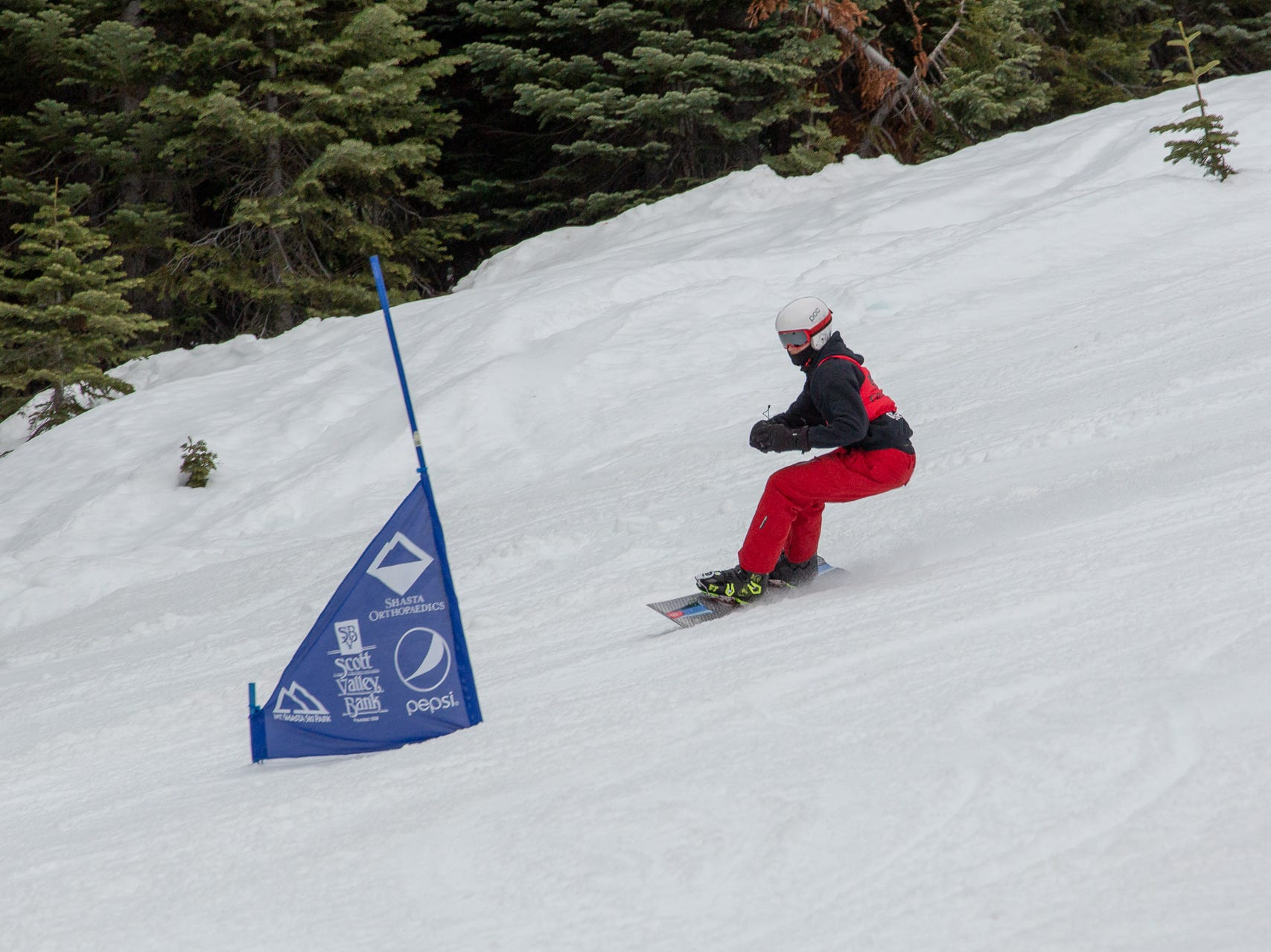 Brandon Oliphant of Foothill races in the third high school snowboard meet of 2019 on Monday, Jan. 28 at Mt. Shasta Ski Park.