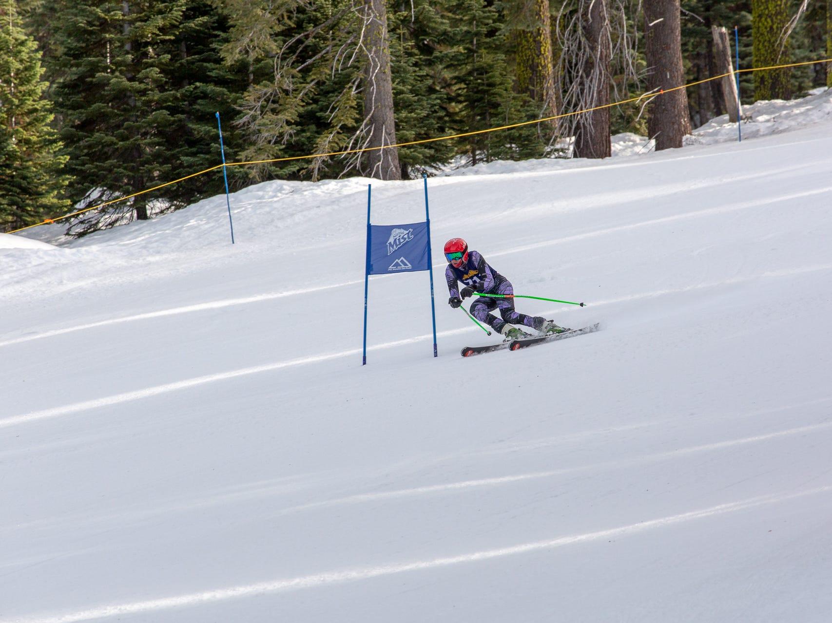 Ian Anderson of Mt. Shasta races in the third high school ski meet of 2019 on Monday, Jan. 28 at Mt. Shasta Ski Park.