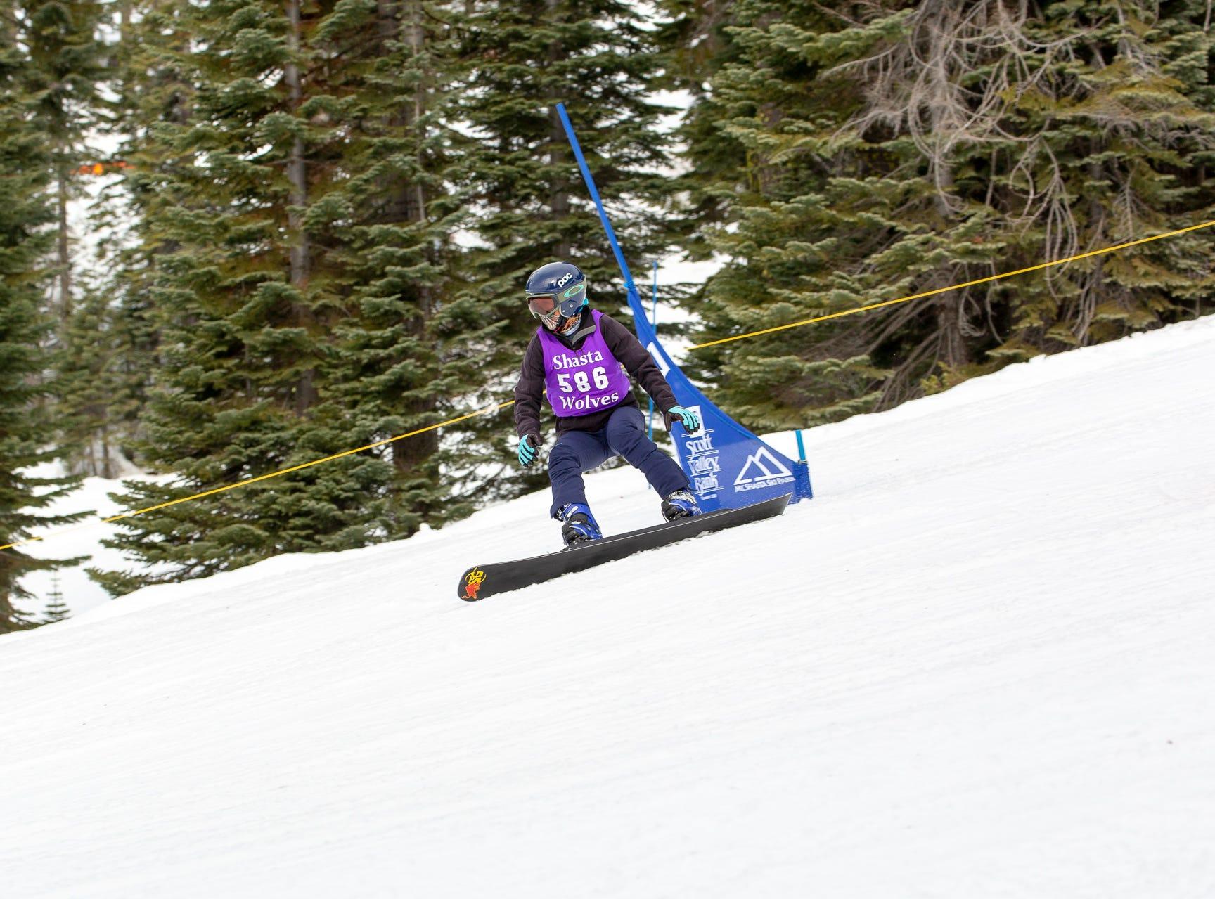 Sage Will of Shasta High races in the third high school snowboard meet of 2019 on Monday, Jan. 28 at Mt. Shasta Ski Park.
