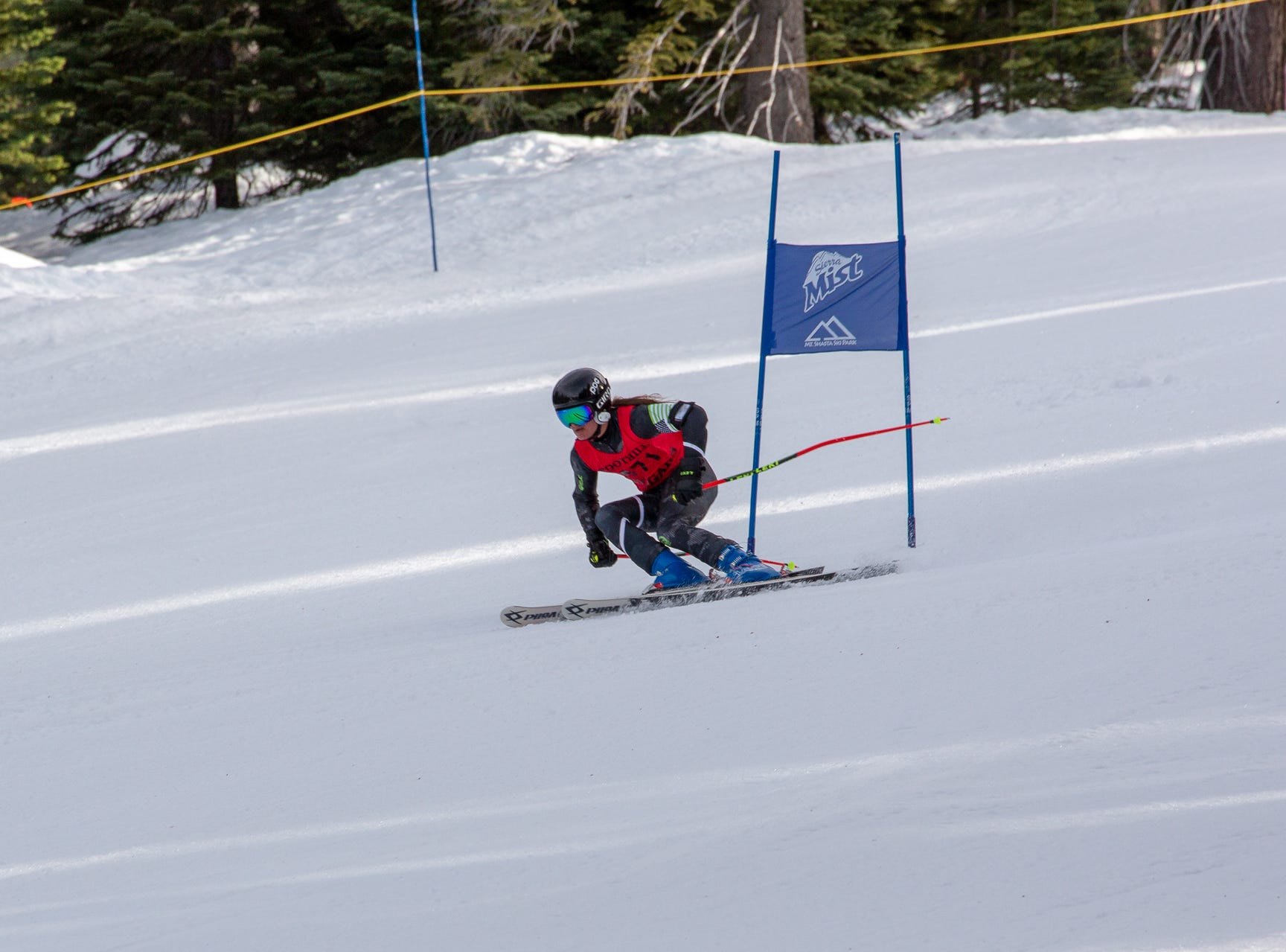 Cooper Laloli of Foothill races in the third high school ski meet of 2019 on Monday, Jan. 28 at Mt. Shasta Ski Park.
