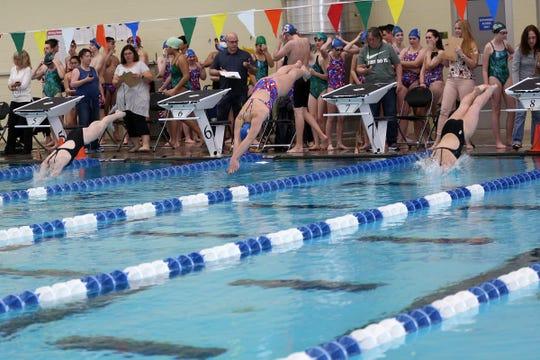 South Salem High School's swim team hosts a dual meet against West Salem at the Kroc Center on Tuesday, Jan. 29, 2019.