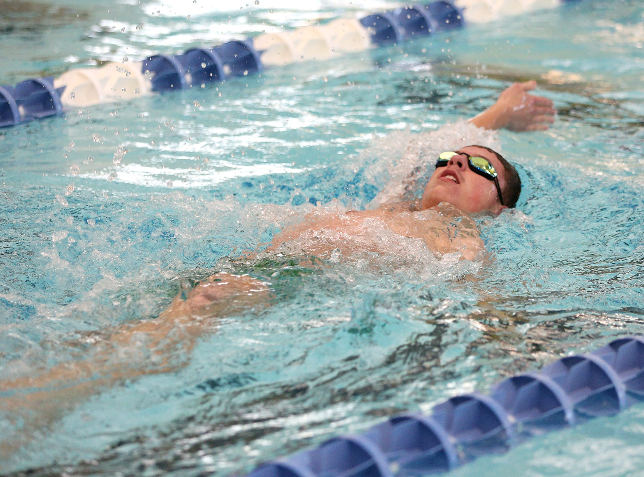 West Salem High School freshman Benjamin Smith during the boys 200 IM at the Kroc Center on Tuesday, Jan. 29, 2019.