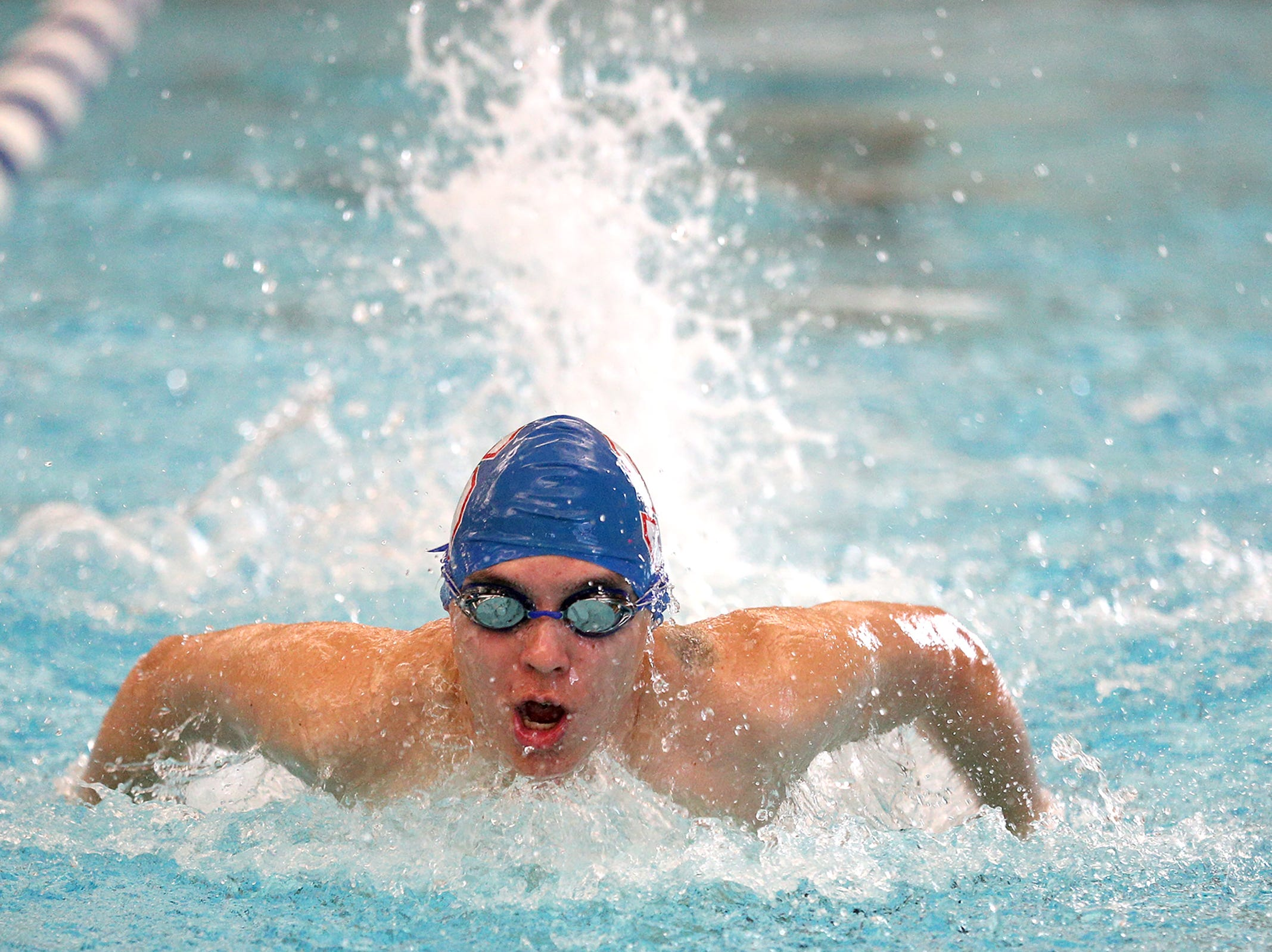 South Salem High school sophomore Quinn Otto during the boys 200 IM at the Kroc Center on Tuesday, Jan. 29, 2019.