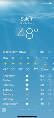 Screen capture from the weather app on an Apple iPhone showing snowflakes in the forecast for Salem.