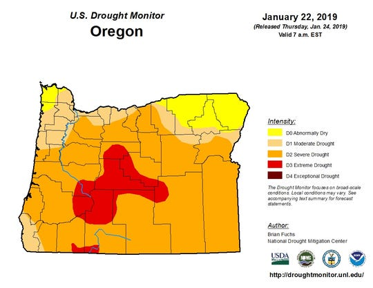 Oregon remains stuck in widespread drought.