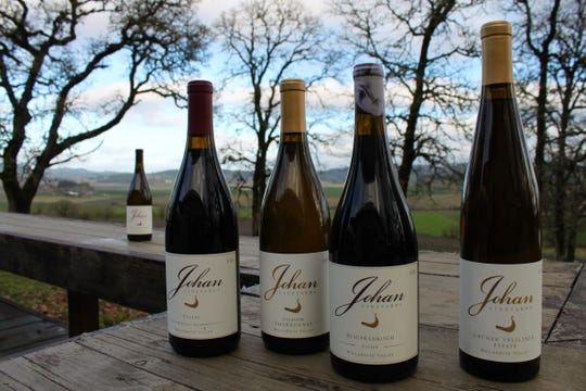 A selection of wines at Johan Vineyards, a certified Biodynamic winery in the Van Duzer Corridor AVA.