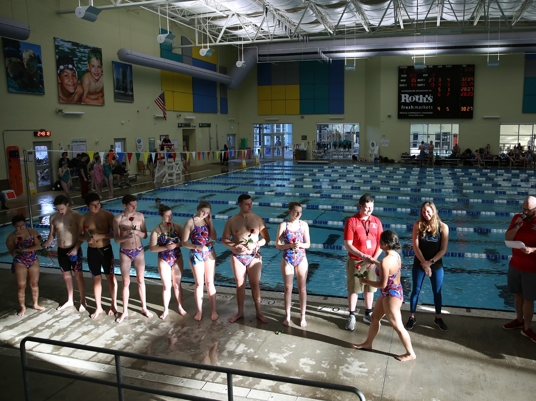 South Salem High School's swim team seniors receive recognition during a dual meet against West Salem at the Kroc Center on Tuesday, Jan. 29, 2019.