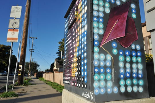 One of Augie WK's public art pieces across from Hartnell College in Salinas.