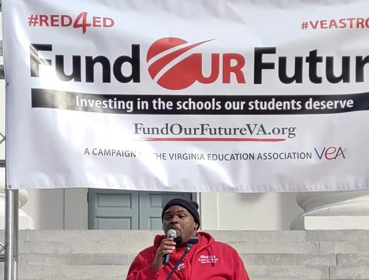 James J. Fedderman speaks at the Virginia Capitol during a teacher demonstration asking for higher teacher salaries and public school funding on Monday, Jan. 28, 2019. Photo courtesy of James J. Fedderman