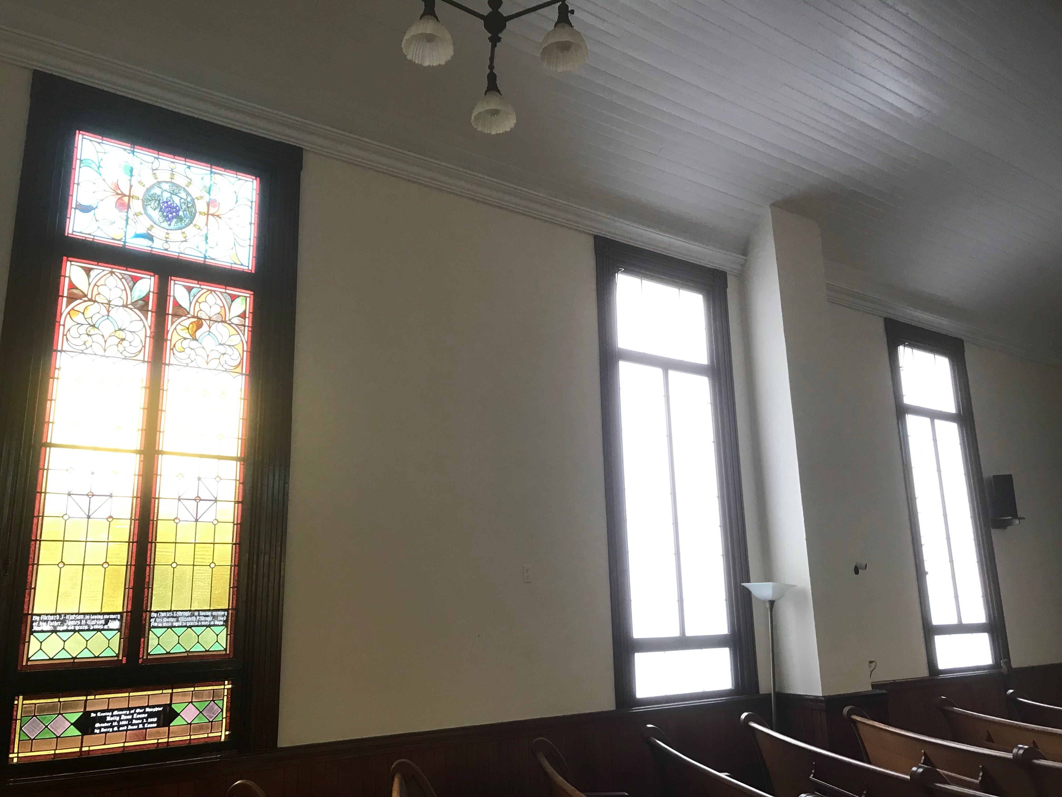 The final three stained glass windows to be restored at Historic Cokesbury Church in Onancock, Virginia were removed the last week in January 2019 and taken to Philadelphia, where the restoration work is being done.