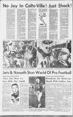 The newspaper article from the New York Jets' Super Bowl win over the Baltimore Colts.