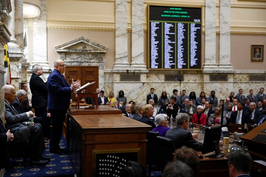 Gov. Larry Hogan delivers his annual State of the State address to a joint session of the legislature in Annapolis.